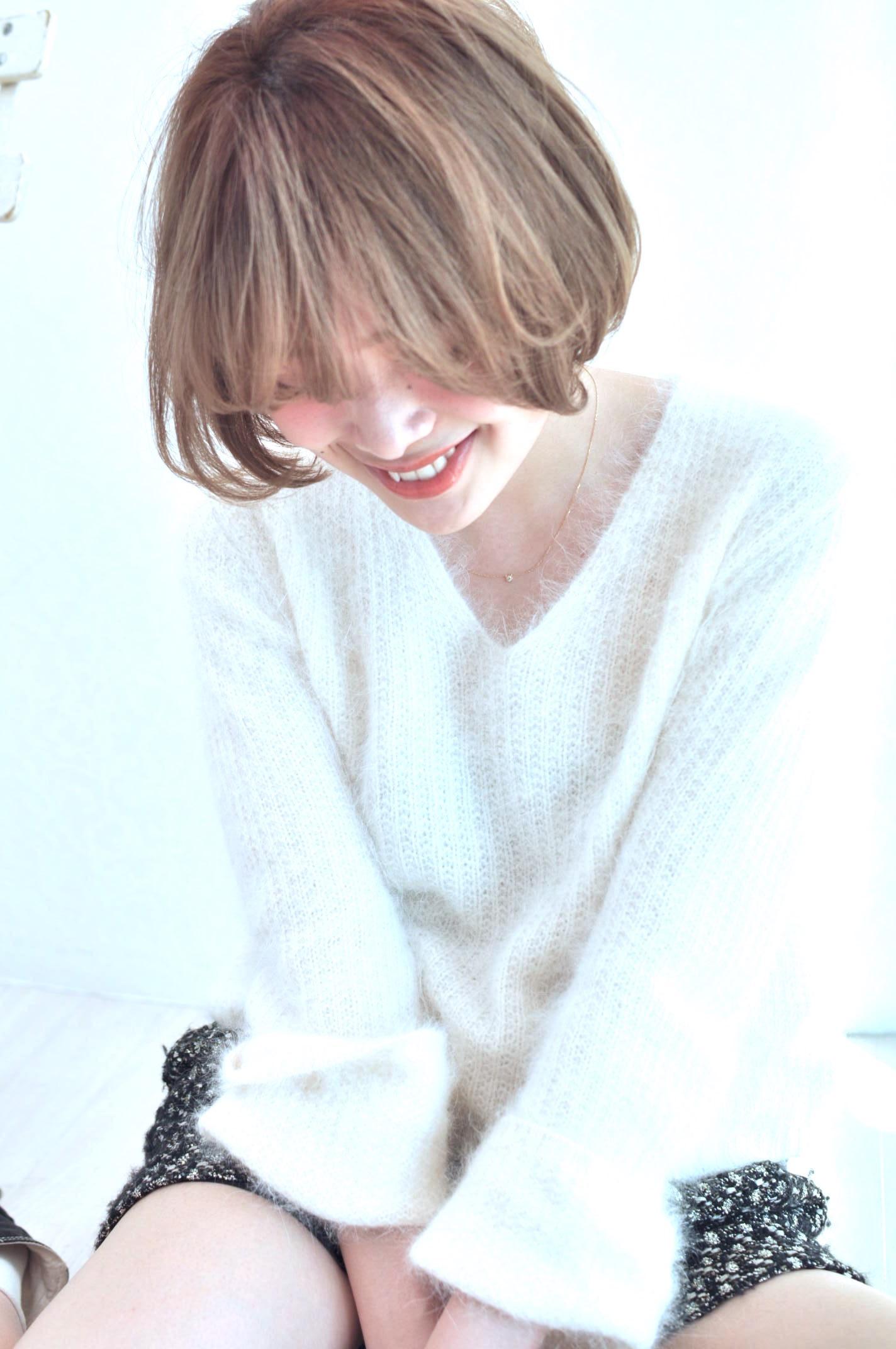 ちょいウザ前髪×ハイトーンクリアベージュ